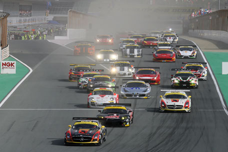 Official start of the ninth edition of the Dunlop 24 Hours of Dubai endurance race at Dubai Autodrome. (SUPPLIED)