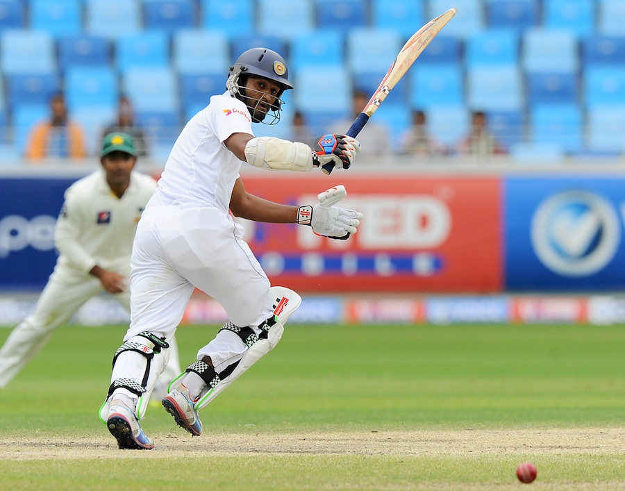 Sri Lankan batsman Dimuth Karunaratne  during the final day of the second cricket Test between Pakistan and Sri Lanka at the Dubai International Stadium in Dubai on January 12, 2014. (AFP)