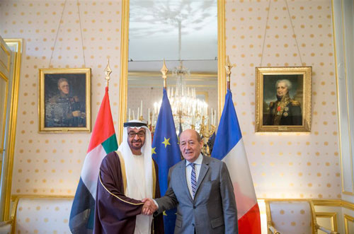 General Sheikh Mohammed bin Zayed Al Nahyan meets French Defence Minister Jean-Yves Le Drian in Paris today. (Wam)