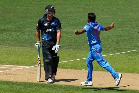 Mohammed Shami of India celebrates after taking the wicket of Jesse Ryder of New Zealand during the first One Day International between New Zealand and India at McLean Park on January 19, 2014 in Napier, New Zealand.  (GETTY)