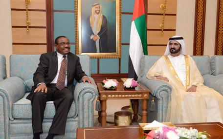 His Highness Sheikh Mohammed bin Rashid Al Maktoum receives the Ethiopian Prime Minister Hailemariam Desalegn (Wam)