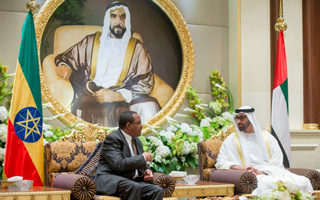 General Sheikh Mohamed bin Zayed Al Nahyan receives the visiting Ethiopian Prime Minister Hailemariam Desalegn (Wam)