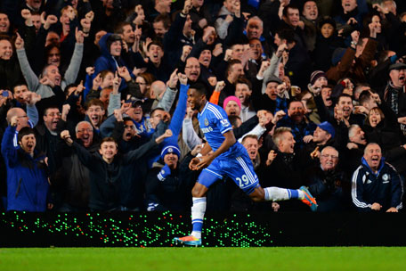 Samuel Eto'o of Chelsea celebrates after scoring his team's third goal during the Barclays Premier League match between Chelsea and Manchester United at Stamford Bridge on January 19, 2014 in London, England. (GETTY)