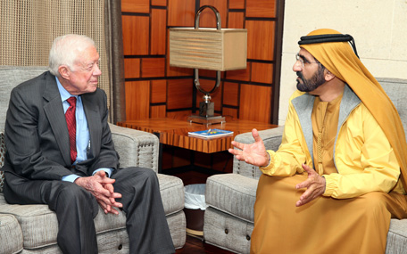His Highness Sheikh Mohammed bin Rashid Al Maktoum receives Jimmy Carter (Wam)