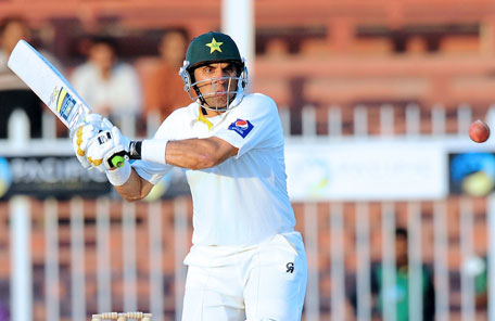 Pakistan captain Misbah ul Haq hit an unbeaten half century on the fifth day of the third Test between Pakistan and Sri Lanka at Sharjah Cricket Stadium on January 20, 2014. (AFP)