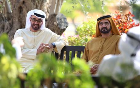 His Highness Sheikh Mohammed bin Rashid Al Maktoum receives General Sheikh Mohammed bin Zayed Al Nahyan (Wam)