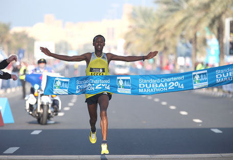 Tsegaye Mekonnen on his way to victory in the Standard Chartered Dubai Marathon. (SUPPLIED)