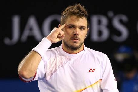 Stanislas Wawrinka of Switzerland celebrates a point in his men's final match against Rafael Nadal of Spain during day 14 of the 2014 Australian Open at Melbourne Park on January 26, 2014 in Melbourne, Australia. (GETTY)