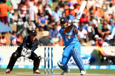 MS Dhoni of India bats during game four of the one day international series between New Zealand and India at Seddon Park on January 28, 2014 in Hamilton, New Zealand. (GETTY)