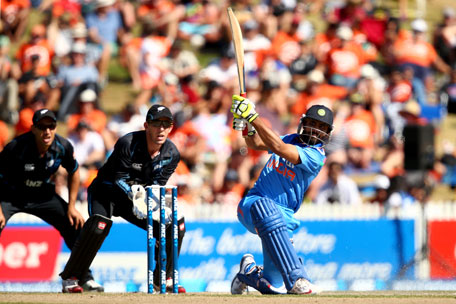 Ravindra Jadeja of India bats during game four of the one day international series between New Zealand and India at Seddon Park on January 28, 2014 in Hamilton, New Zealand. (GETTY)