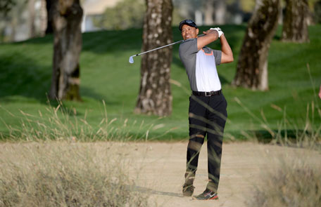 Tiger Woods of the USA plays his second shot on the 10th hole during the first round of the Omega Dubai Desert Classic on the Majlis course at the Emirates Golf Club on January 30, 2014 in Dubai, UAE. (GETTY)