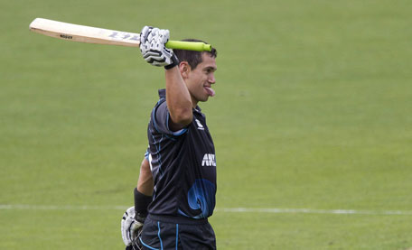 Ross Taylor of New Zealand celebrates 100 runs during the fifth and final one day international between New Zealand and India in Wellington at Westpac Stadium on January 31, 2014. (AFP)