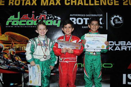 Rashid Al Dhaheri (centre) scored a double win at the Kartdrome in the Bambino class last time out. (SUPPLIED)