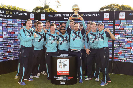 Scotland cricket team celebrate winning the ICC Cricket World Cup Qualifier Grand Final. (IDI/GETTY)