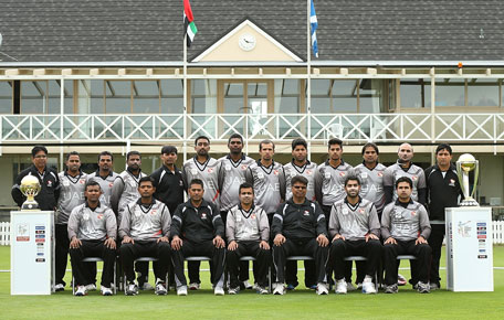 UAE team's official photo taken after qualifying for the ICC Cricket World Cup 2015. (SUPPLIED)