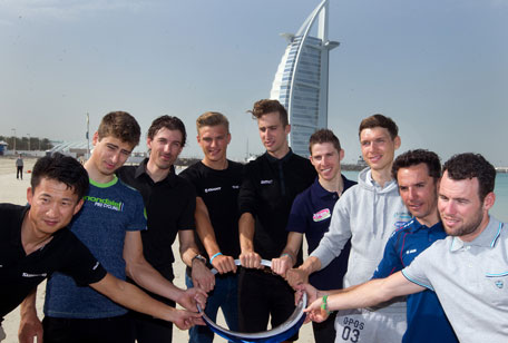 Ji Chen, Peter Sagan, Fabian Cancellara, Marcel Kittel, Taylor Phinney, Tony Martin, Alberto Rui Costa, Joaquin Rodriguez, Mark Cavendish holding the 'Circle of Stars' trophy which will be awarded to the winner of the Dubai Tour. (SUPPLIED)