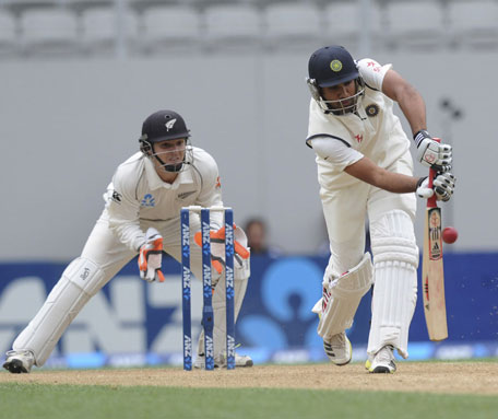 India's Rohit Sharma plays a shot on day two of the 1st Test against New Zealand at Eden Park in Auckland on February 7, 2014. (AP)