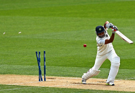 Indian batsman Rohit Sharma is bowled on day three of the first Test against New Zealand at Eden Park in Auckland on February 8, 2014. (GETTY)