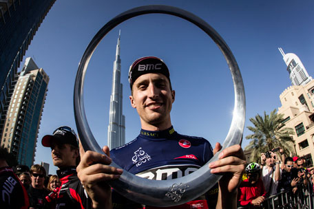 American Taylor Phinney with the Circle of Stars trophy awarded to the winner of the Dubai Tour. (SUPPLIED)
