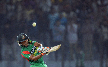 Bangladesh batsman Anamul Haque plays a shot during the first Twenty20 cricket match between Bangladesh and Sri Lanka at the Zahur Ahmed Chowdhury Stadium in Chittagong on February 12, 2014. (AFP)