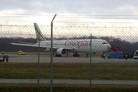 "The Ethiopian Airlines flight en route to Rome which was on hijacked and forced to land in Geneva, where the hijacker has been arrested, police said. There were no immediate reports of injuries and in a statement in Addis Ababa Ethiopian Airlines said ""the passengers are safe and sound."" AFP Photo/Pierre Taillefer"