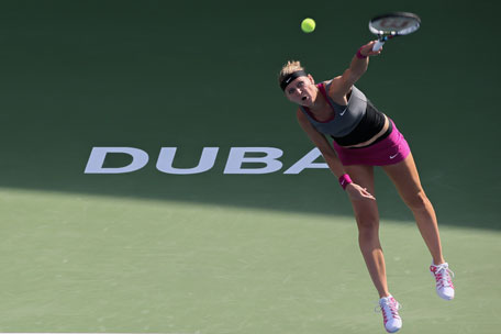Lucie Safarova unleashing one of her booming serves during her singles match against Sloane Stephens at the Dubai Tennis Stadium on Monday. (SUPPLIED)