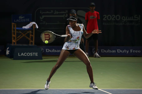 Venus Williams on her way to victory over Elena Vesnina in the Dubai Duty Free Tennis Championships at Dubai Tennis Stadium on Monday. (SUPPLIED)