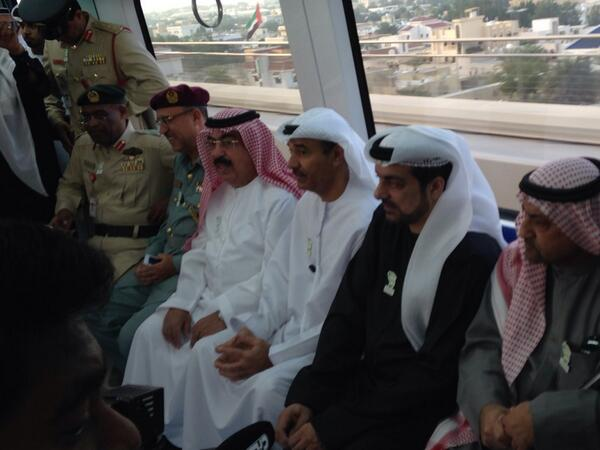 Directors of various Dubai government departments ride the Metro to work this morning. (Dubai Municipality @ Twitter)