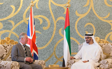 Mohamed bin Zayed receives Prince Charles. (WAM)