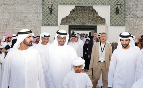 Mohammed bin Rashid, Mohammed bin Zayed, Hamdan bin Mohammed visit Qasr al Hosn Festival. (Al Bayan)