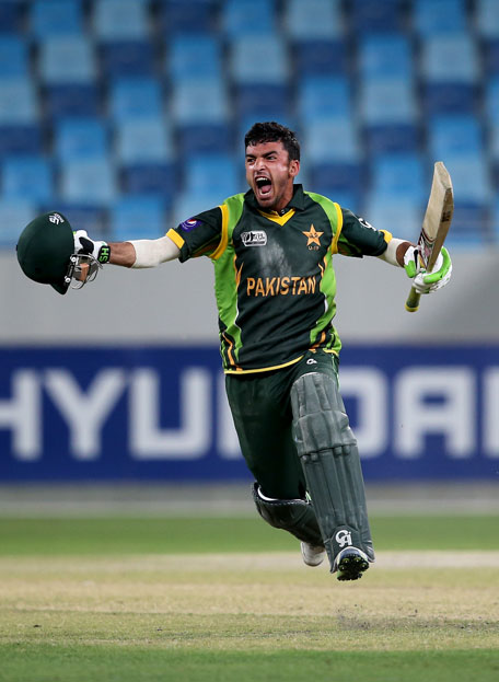 Zafar Gohar of Pakistan celebrates after winning the ICC U19 Cricket World Cup 2014 semifinal between England and Pakistan at the Dubai International Stadium on February 24, 2014 in UAE. (IDI/GETTY)