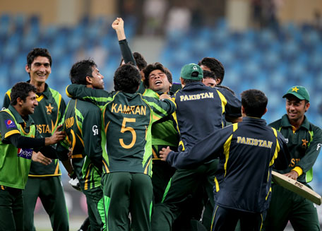 Pakistan players celebrate after winning the ICC U19 Cricket World Cup 2014 semifinal against England at the Dubai International Stadium on February 24, 2014 in UAE. (IDI/GETTY)