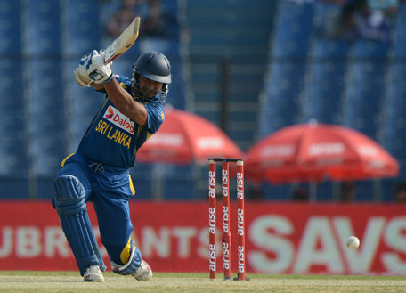 Sri Lanka batsman Kumar Sangakkara plays a shot during the one day international Asia Cup between Pakistan and Sri Lanka at the Khan Shaheb Osman Ali Stadium in Fatullah, Dhaka, on February 25, 2014. (AFP)