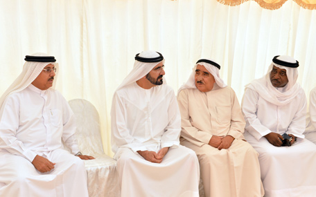 Sheikh Mohammed bin Rashid visiting the family residence of Salma Al Sharhan, the first Emirati to join the nursing profession, who died in Ras Al Khaimah at the age of 80, on Tuesday. (Wam)