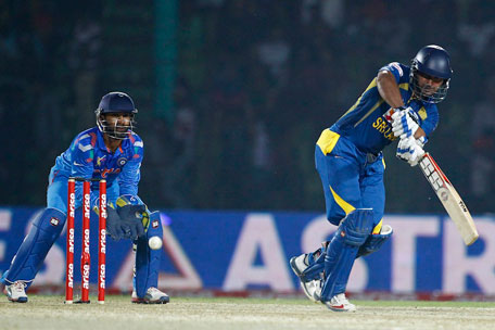 Kumar Sangakkara steers one to the leg side during the Asia Cup match between India and Sri Lanka, Fatullah, on February 28, 2014. (AP)