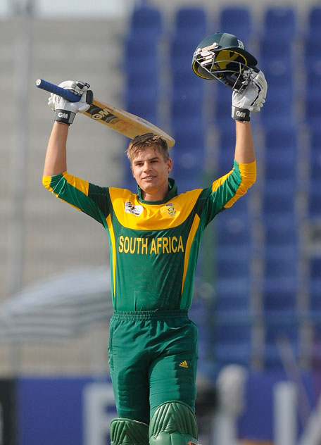 South Africa Aiden Markram celebrates his century during the ICC U19 CWC match against Zimbabwe at Sheikh Zayed Stadium on February 18, 2014 in Abu Dhabi, UAE. (IDI/GETTY)