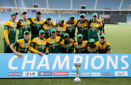 South Africa celebrates after winning the ICC U19 Cricket World Cup 2014 Super League Final against Pakistan at the Dubai International Stadium on March 1, 2014 in Dubai, UAE. (IDI/GETTY)