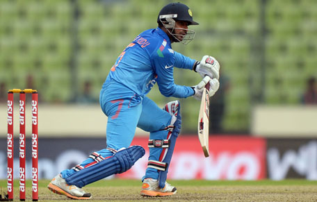 Indian batsman Ambati Rayudu plays a shot during the sixth match of the Asia Cup one-day cricket tournament between India and Pakistan at the Sher-e-Bangla National Cricket Stadium in Dhaka on March 2, 2014. (AFP)