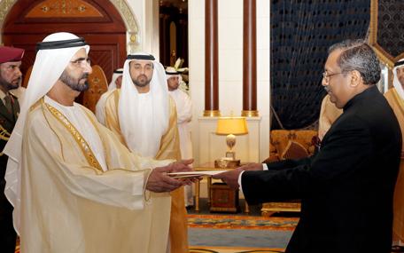 Mohammed receives ambassador of Republic of India (Wam)