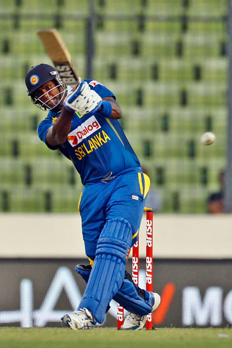 Angelo Mathews plays a shot during the Asia Cup match between Afghanistan v Sri Lanka, Asia Cup, Mirpur on Monday. (AP)