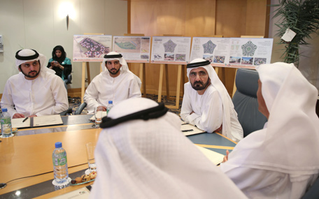His Highness Sheikh Mohammed bin Rashid Al Maktoum, Vice President and Prime Minister of the UAE and Ruler of Dubai, at the headquarters of Dubai Municipality on Monday. (Wam)