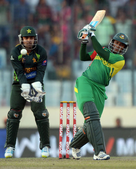 Shakib Al Hasan blasted a 16-ball 44 during the Asia Cup match between Bangladesh and Pakistan in Mirpur on Tuesday March 4. (AFP)