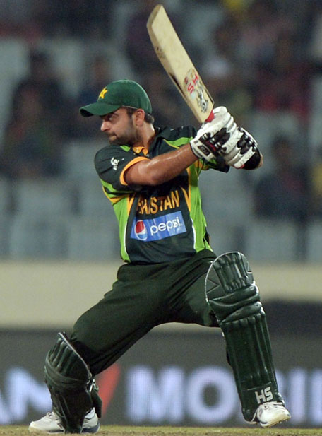 Ahmed Shehzad plays a shot during the Asia Cup match between Bangladesh and Pakistan in Mirpur on Tuesday March 4. (AFP)