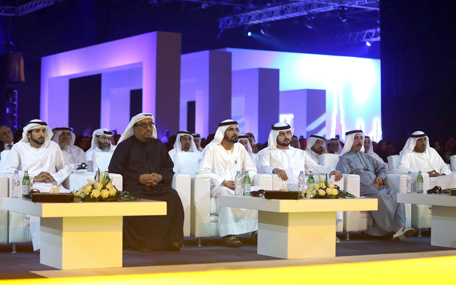 Sheikh Mohammed bin Rashid and other dignitaries during the launching of the strategy to turn Dubai into a 'smart city.' (Wam)