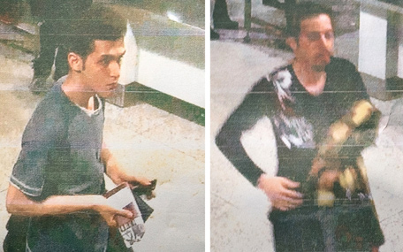 This reproduction of Malaysian police handout photographs displayed to the media on March 11, 2014 by a Malaysian police official at a press conference near Kuala Lumpur International Airport in Sepang shows 19-year-old Iranian Pouria Nour Mohammad Mehrdad (L) and an unidentified man (R) at the airport, who both boarded missing Malaysia Airlines MH370 flight using stolen European passports. Malaysian police said on March 11 one of two suspect passengers who boarded the missing passenger jet was an Iranian illegal immigrant, as relatives of some of the 239 people on board said they were losing hope for a miracle.  (AFP)