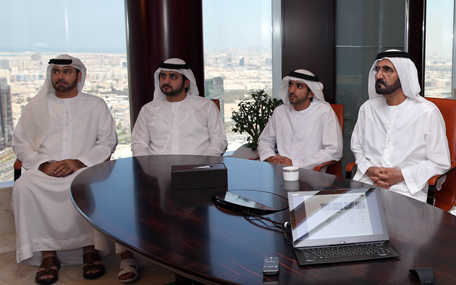 Sheikh Mohammed reviews the introductory presentation on Dubai Metro museum project. (Wam)