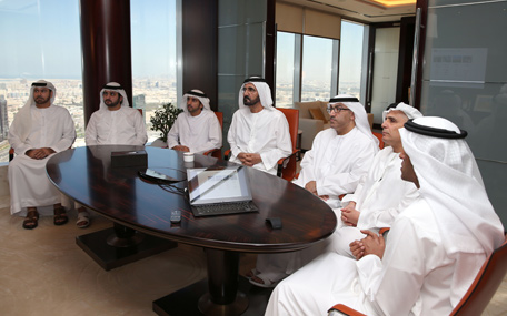 Sheikh Mohammed reviews the introductory presentation on Dubai Metro museum project