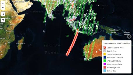This visual on Mapbox, shows all major satellite companies tasking their satellites in the search for the missing flight MH370. Here the footprints mapped from each major satellite provider over the last 6 days (since March 9, 2014). (Credit: Mapbox.com)