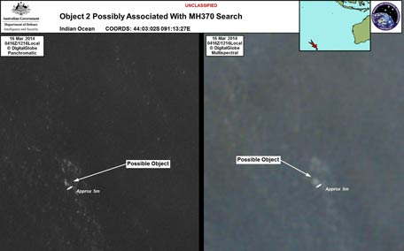 The Australian Government's Department of Defence via the Australian Maritime Safety Authority show satelite images of objects in the Indian Ocean which may be from missing Malaysia Airlines flight MH370 which disappeared en route to Beijing early on March 8. (AFP)