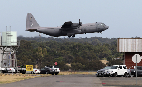 """A Royal Malaysia Air Force C-130 takes off from RAAF base Pearce to search for the missing Malaysia Airlines flight MH370 at Pearce Airbase in Bullsbrook, 35 kms north of Perth, on April 3, 2014. Malaysia will not rest until it can give answers to the distraught families of those on board missing Flight MH370, Razak said, admitting the search was a """"gargantuan"""" challenge. (AFP)"""